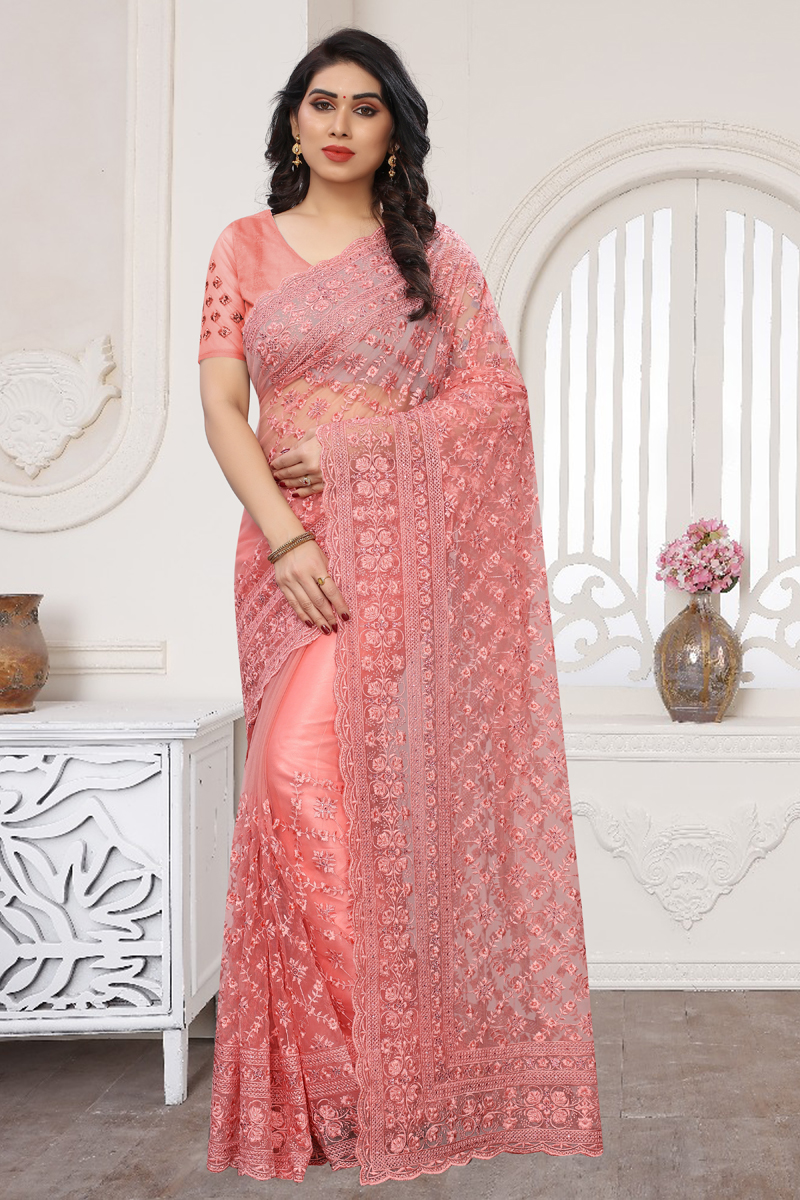 Function Wear Pink Color Saree In Net Fabric