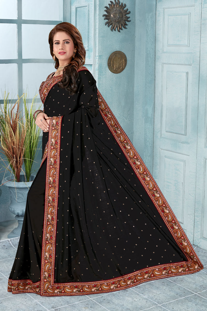 Border Work Art Silk Fabric Black Color Designer Saree