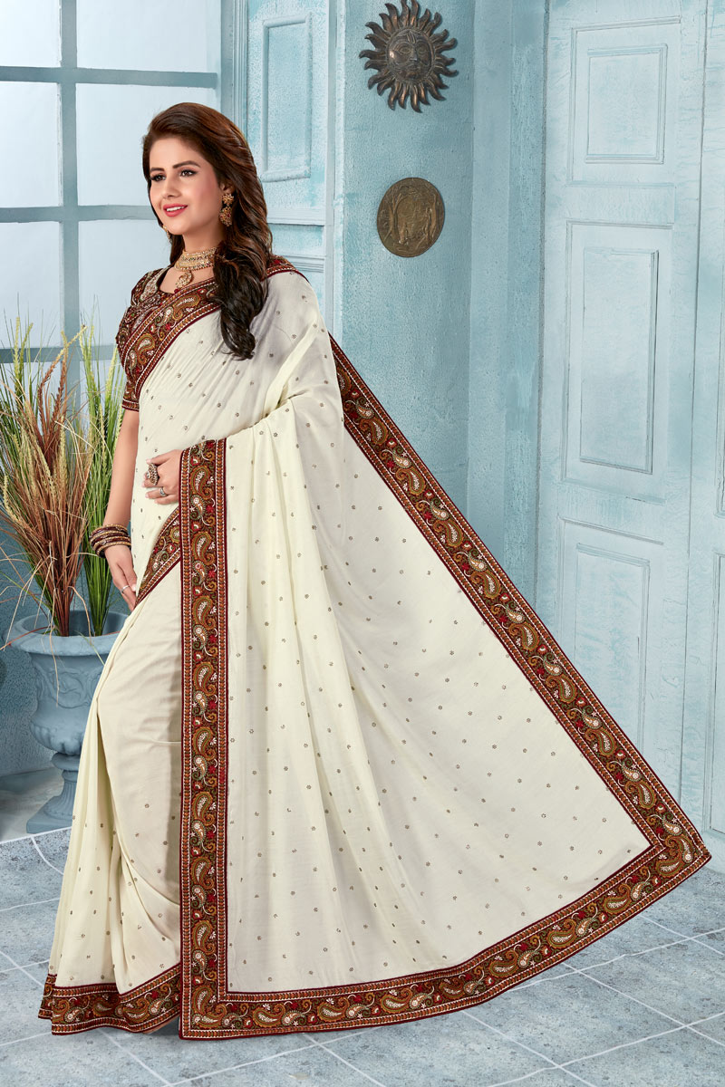 Art Silk Fabric Tradtional Off White Color Fancy Saree