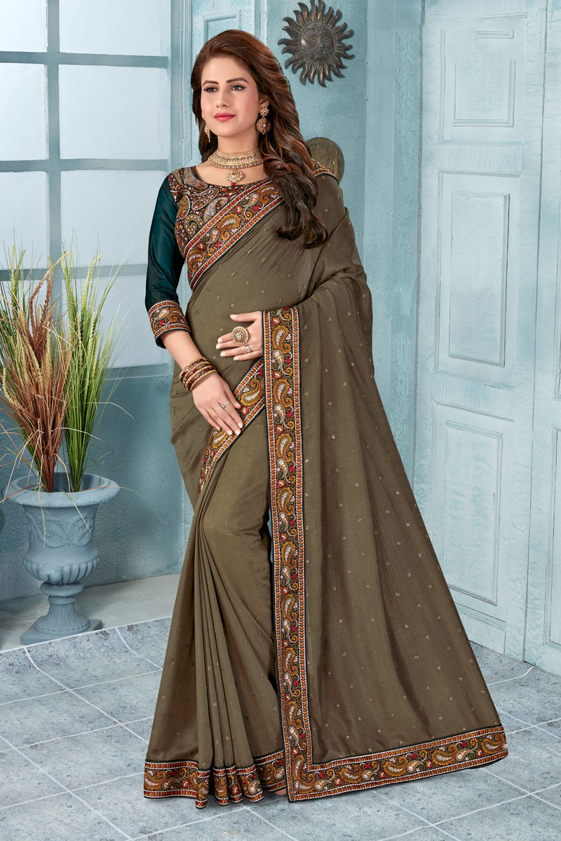 Function Wear Art Silk Fabric Dark Brown Color Saree With Fancy Blouse