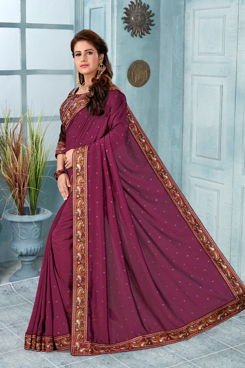 Art Silk Fabric Border Work Party Wear Saree In Dark Magenta Color With Beautiful Blouse
