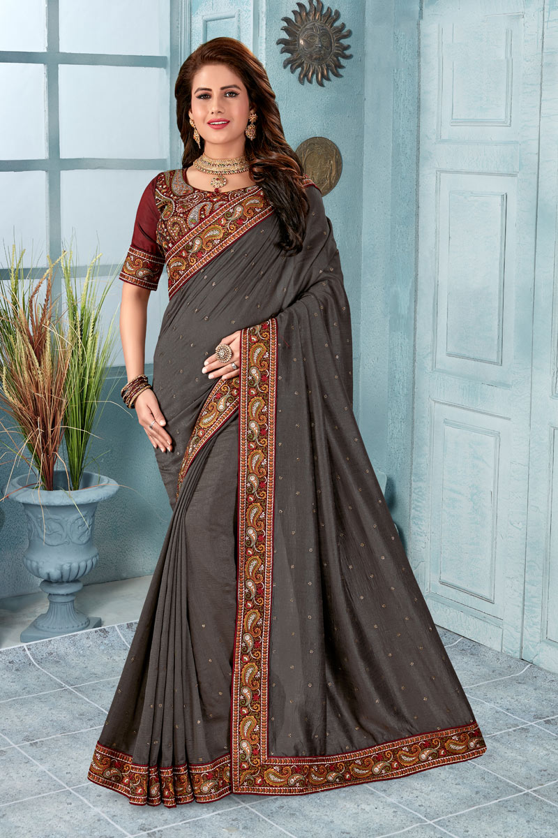 Border Work Grey Color Art Silk Fabric Function Wear Saree With Marvelous Blouse
