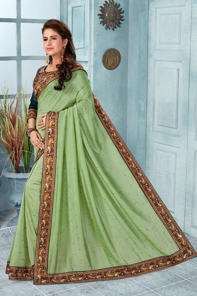 Border Work On Green Color Art Silk Fabric Festive Wear Saree With Designer Blouse