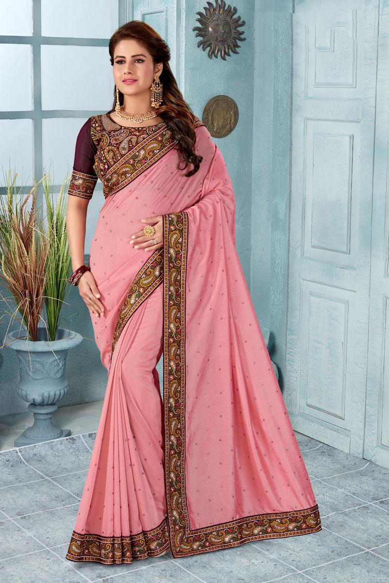 Border Work Fancy Art Silk Fabric Designer Saree
