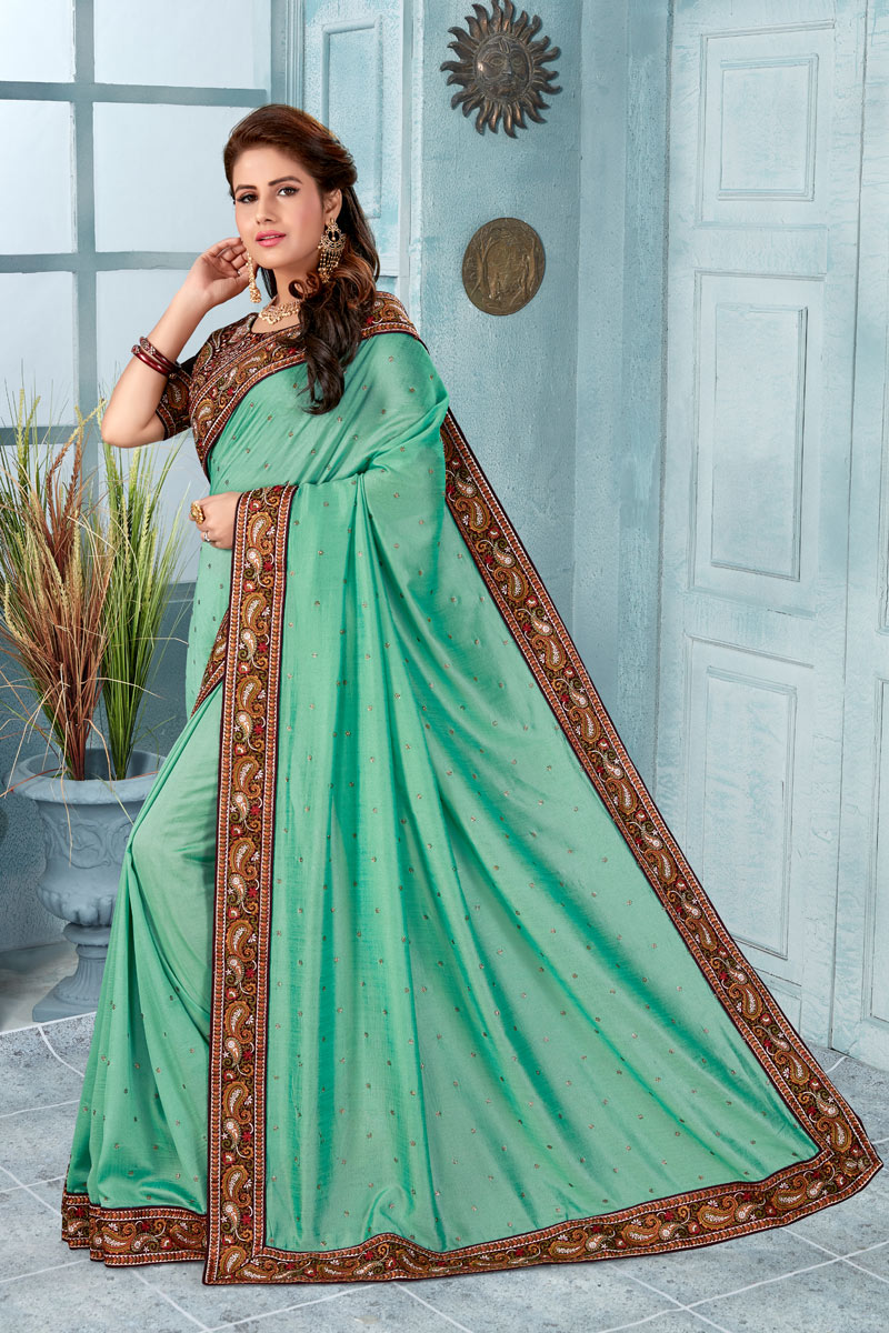 Art Silk Fabric Traditional Fancy Saree In Light Turquoise Color