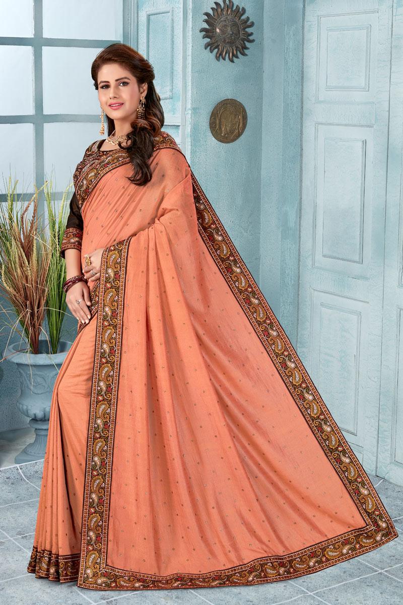 Border Work Art Silk Fabric Designer Saree With Fancy Blouse
