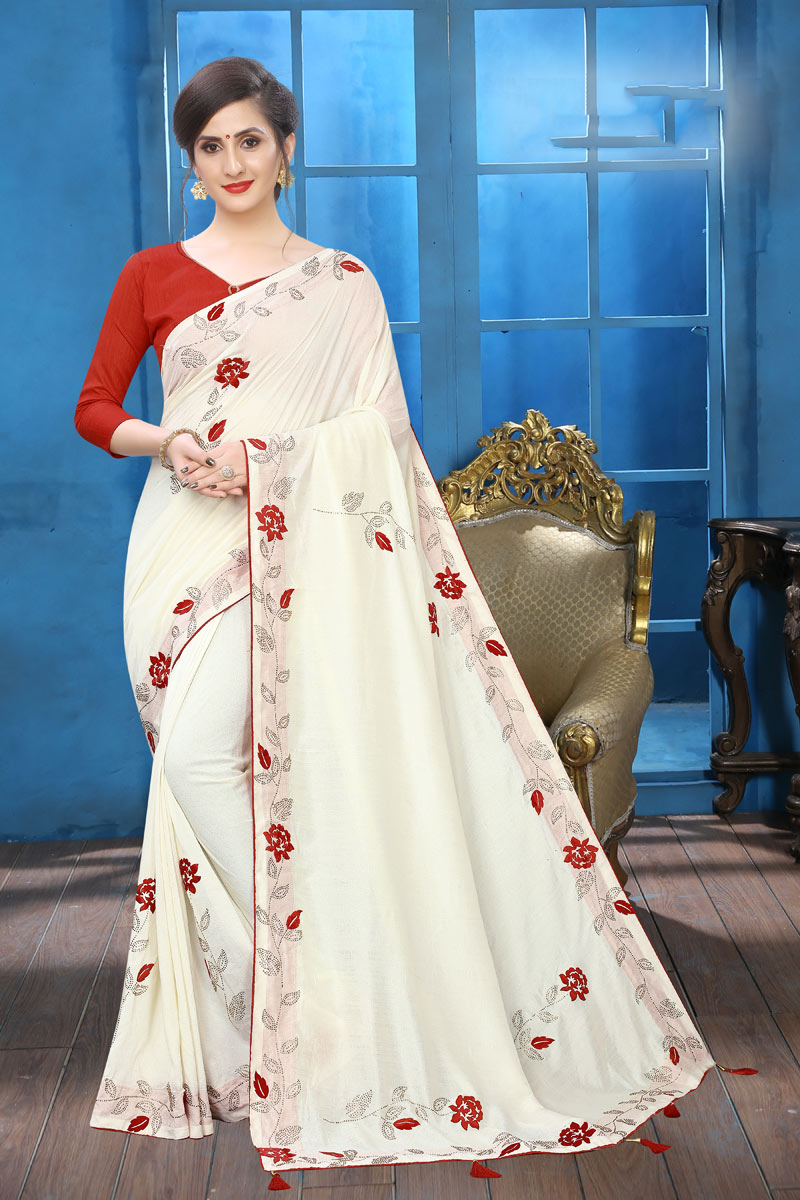 Embroidery Work On Reception Wear Saree In Art Silk White Color With Charming Blouse