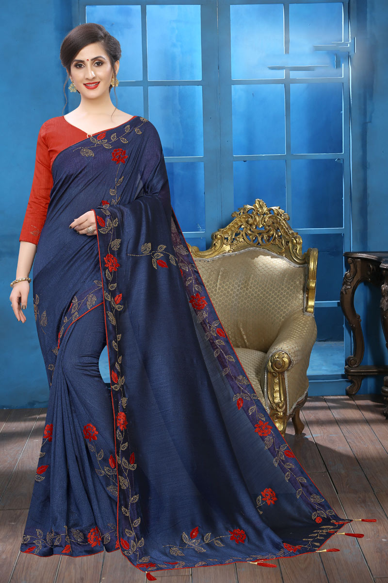 Art Silk Navy Blue Color Occasion Wear Saree With Embroidery Work And Designer Blouse