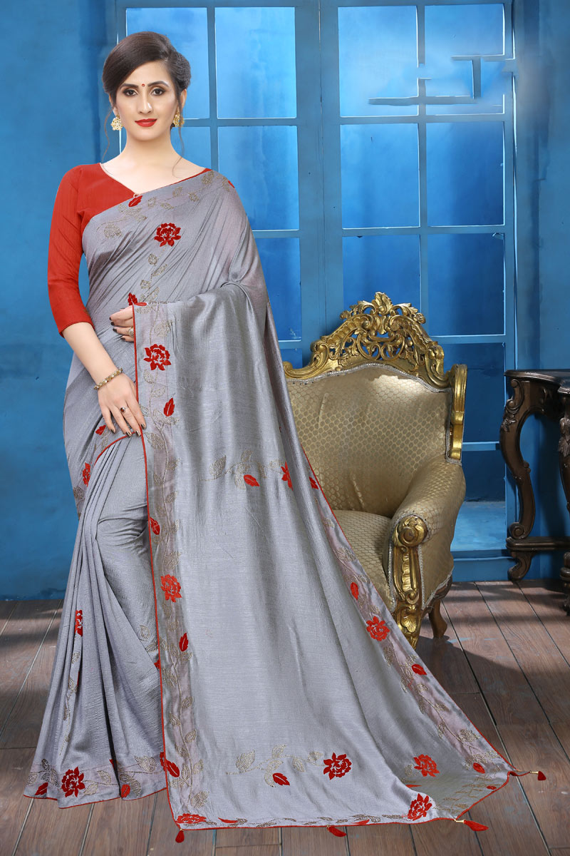 Embroidery Work On Art Silk Party Wear Saree In Grey Color With Beautiful Blouse