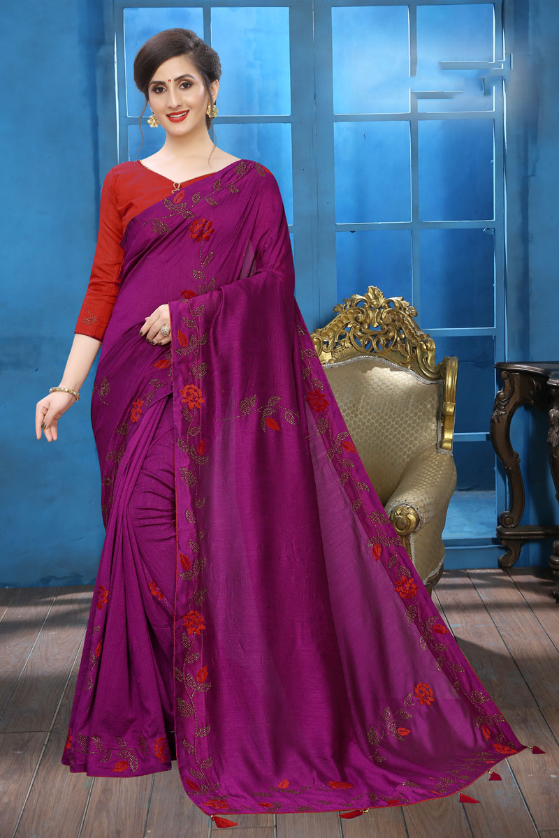 Magenta Color Designer Saree In Art Silk With Embroidery Designs And Attractive Blouse