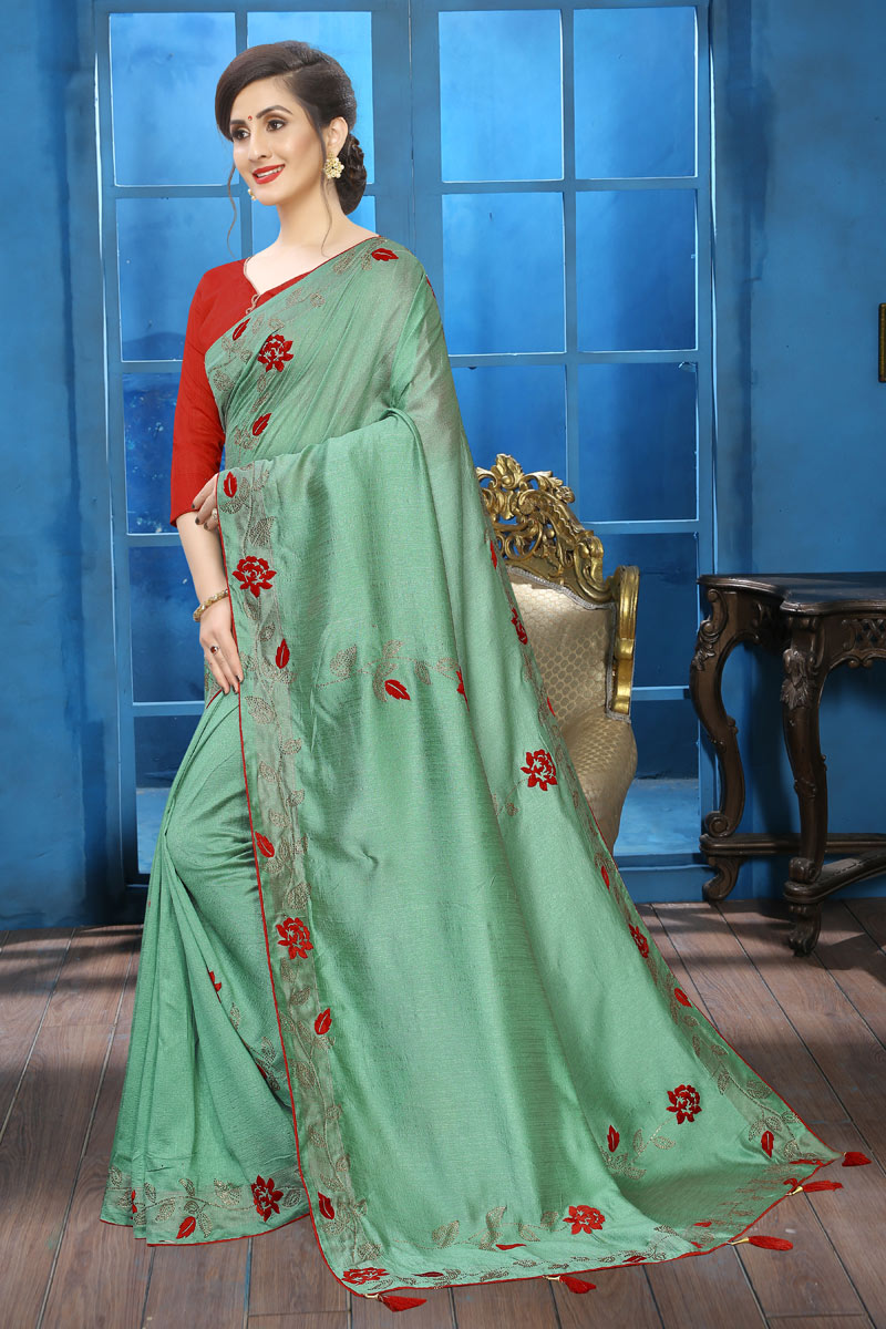 Function Wear Art Silk Embroidery Work On Saree In Sea Green Color With Alluring Blouse