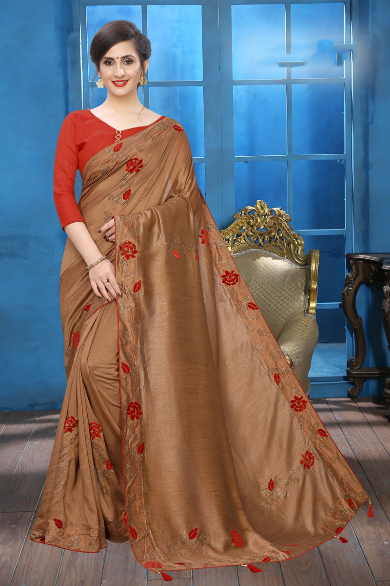 Embroidery Designs On Art Silk Coffee Color Party Wear Saree With Mesmerizing Blouse