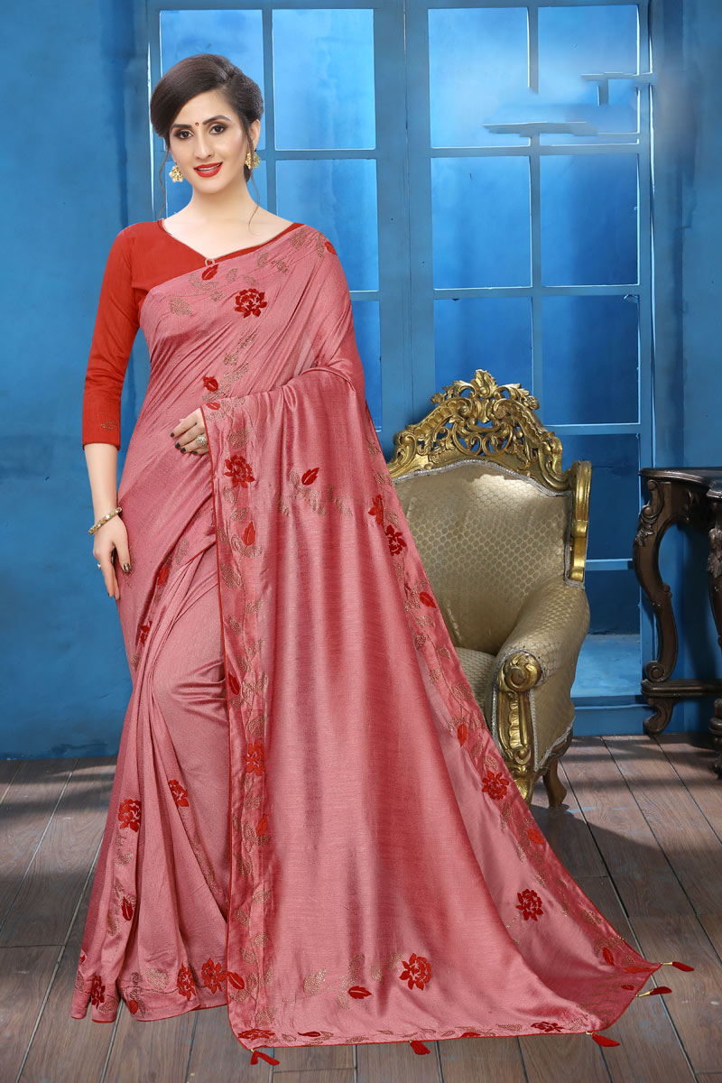 Embroidery Designs On Pink Color Art Silk Party Wear Saree With Designer Blouse