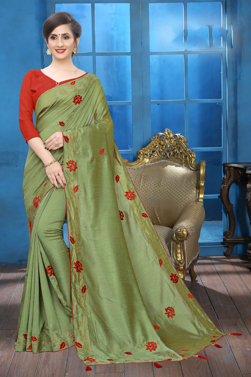 Art Silk Embroidery Work On Green Color Occasion Wear Saree With Enchanting Blouse