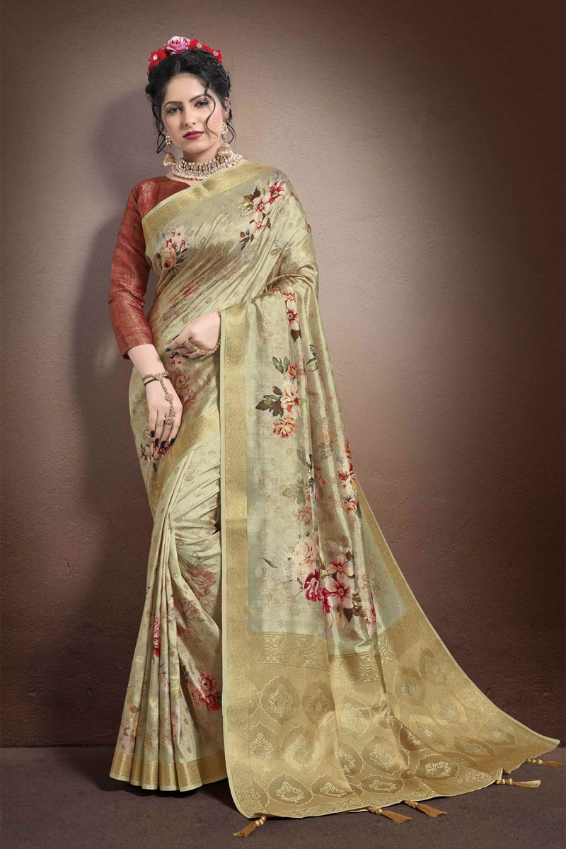 Cream Color Fancy Saree