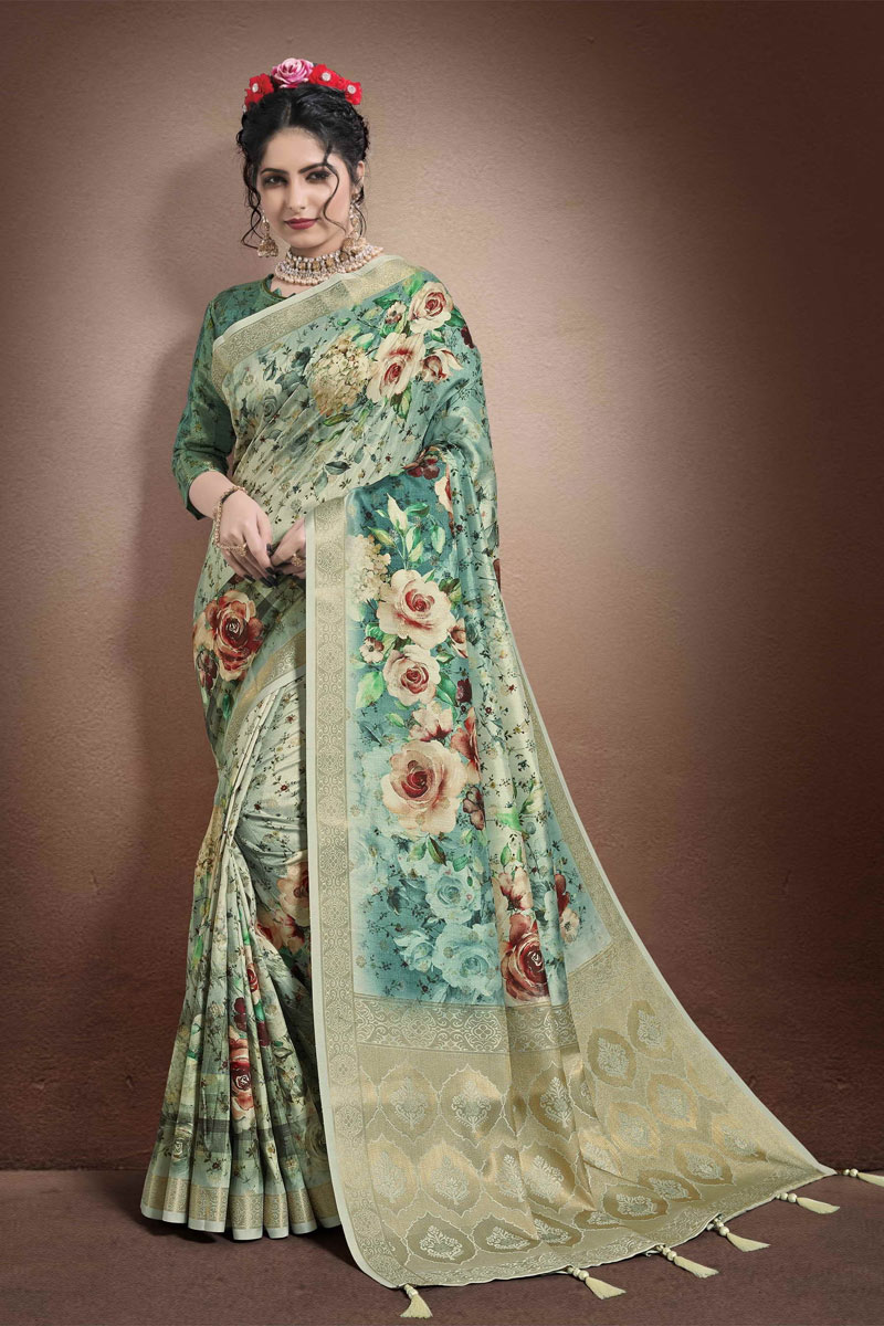 Printed Occasion Wear Saree In Light Cyan Color Georgette And Jacquard Fabric