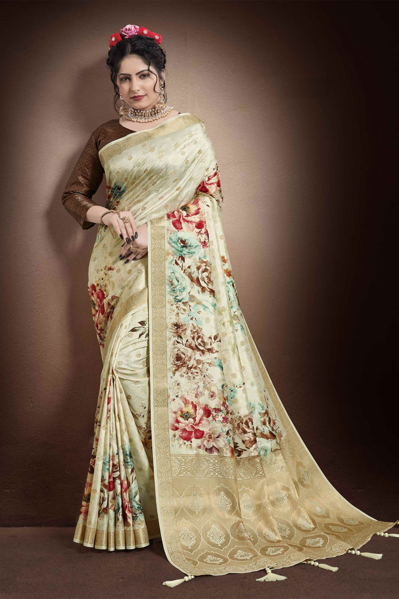 Georgette And Jacquard Fabric Puja Wear Printed Saree In Beige Color