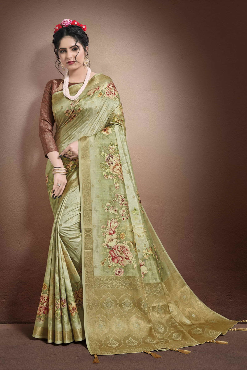 Khaki Color Georgette And Jacquard Fabric Fancy Printed Occasion Wear Saree