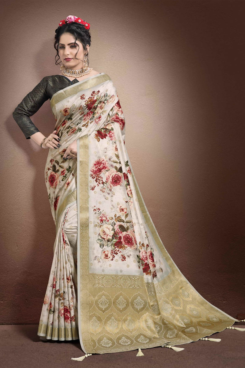 Festive Wear Printed Saree In Chikoo Color Georgette And Jacquard Fabric
