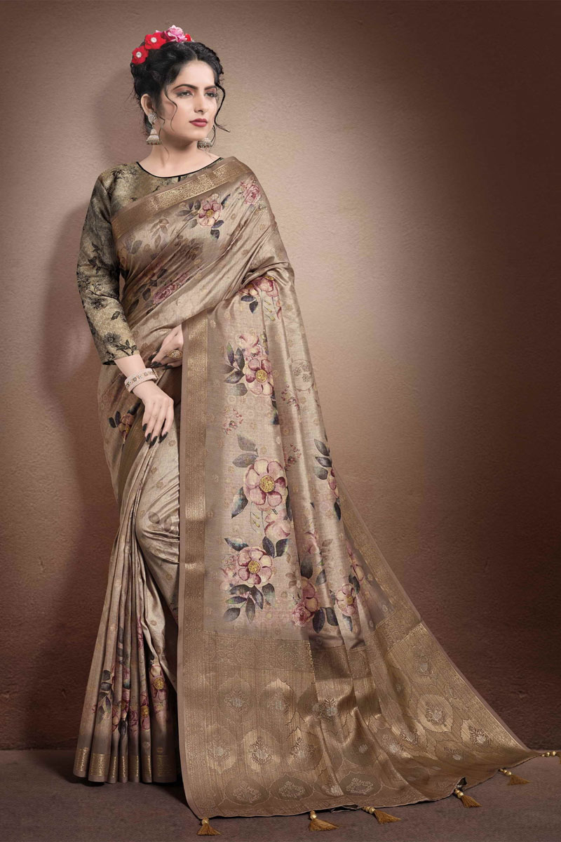 Dark Brown Color Georgette And Jacquard Fabric Festive Wear Printed Saree