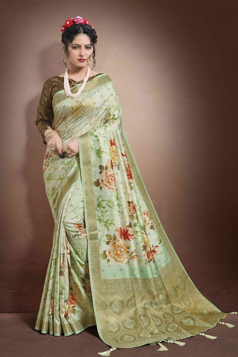 Fancy Sea Green Color Georgette And Jacquard Fabric Function Wear Printed Saree