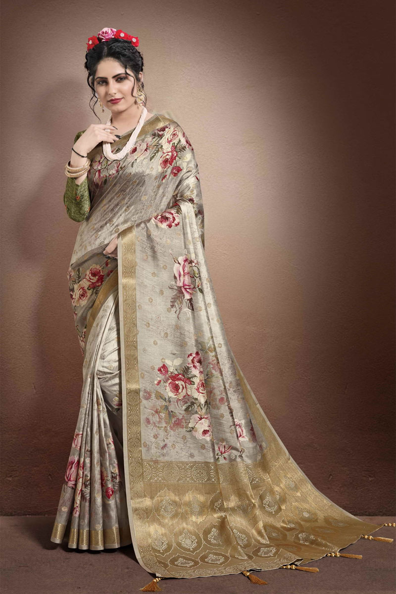 Georgette And Jacquard Fabric Dark Beige Color Fancy Printed Saree