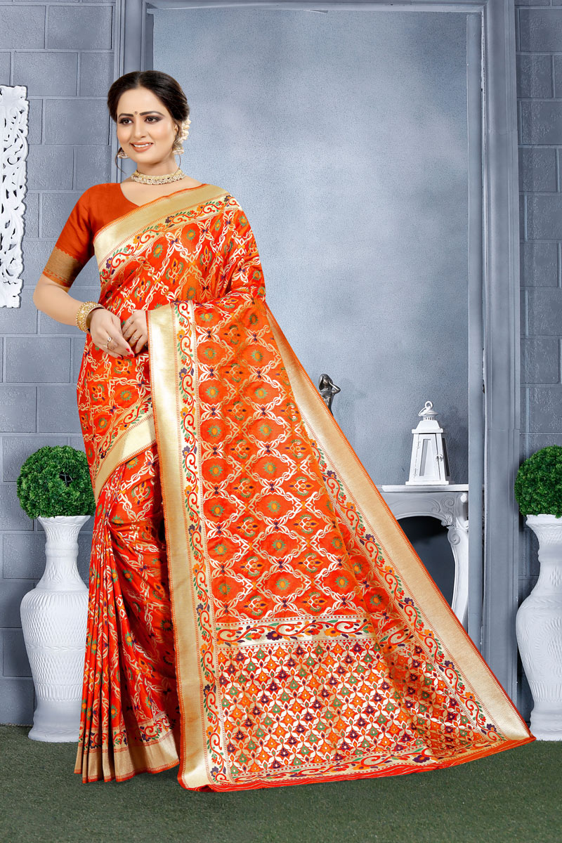 Orange Color Banarasi Silk Fabric Festive Wear Saree