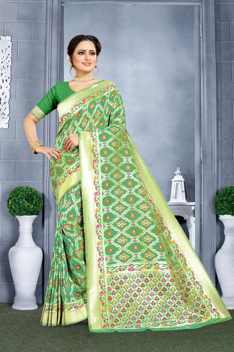 Green Color Traditional Saree In Banarasi Silk Fabric With Weaving Work