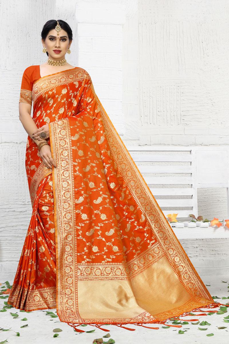 Orange Color Banarasi Silk Fabric Occasion Wear Saree