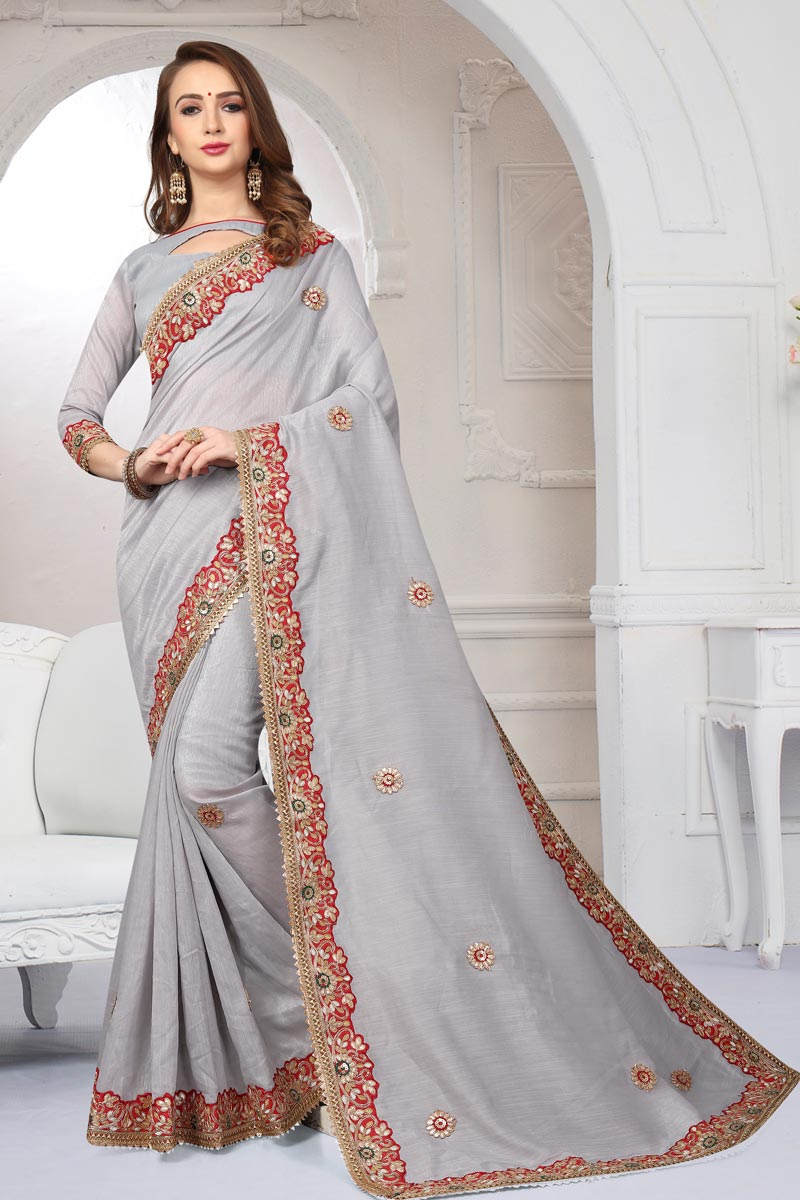 Grey Color Cotton Silk Fabric Party Wear Saree With Embroidery Work And Enigmatic Blouse