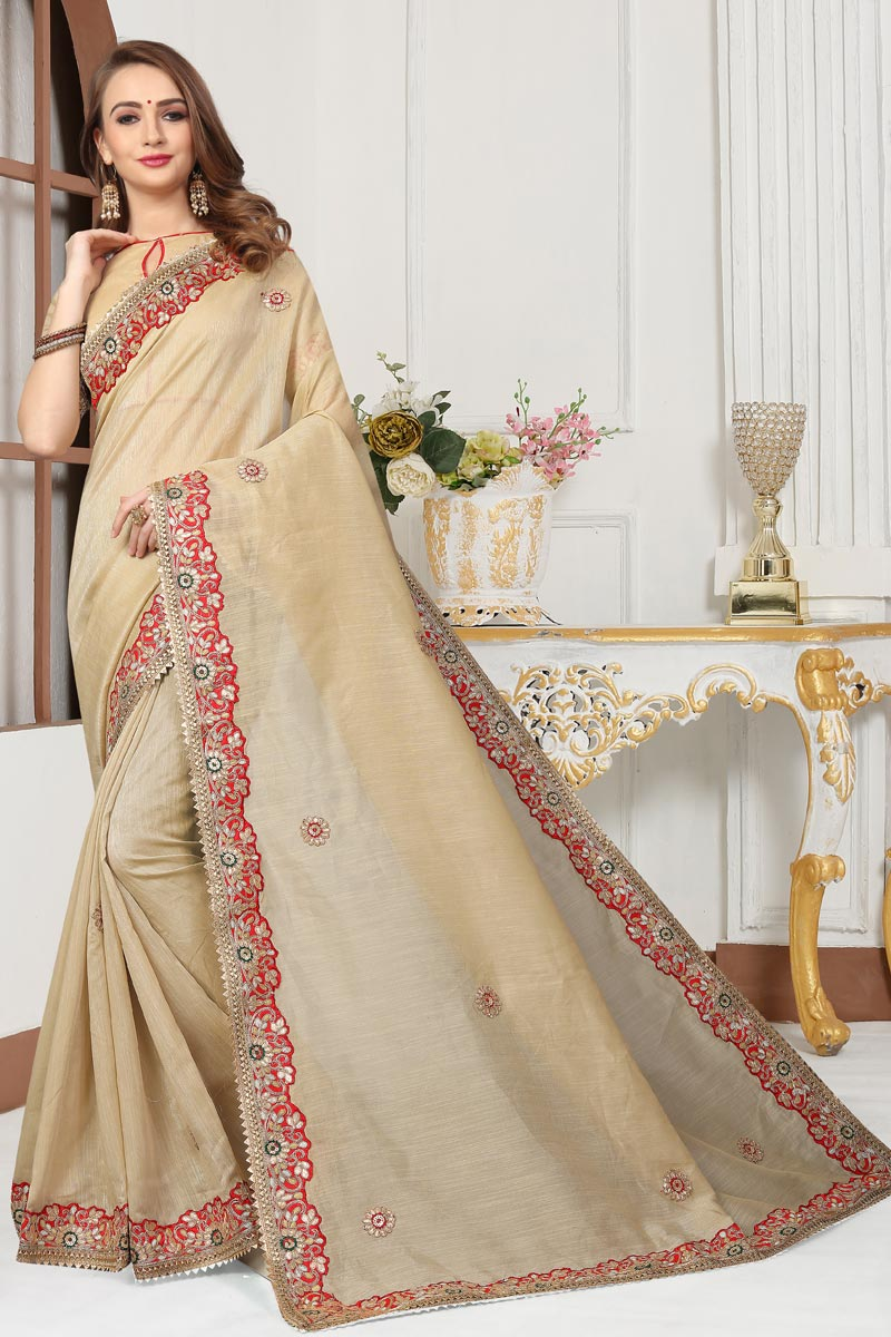 Embroidery Designs On Beige Color Function Wear Saree In Cotton Silk Fabric With Classic Blouse