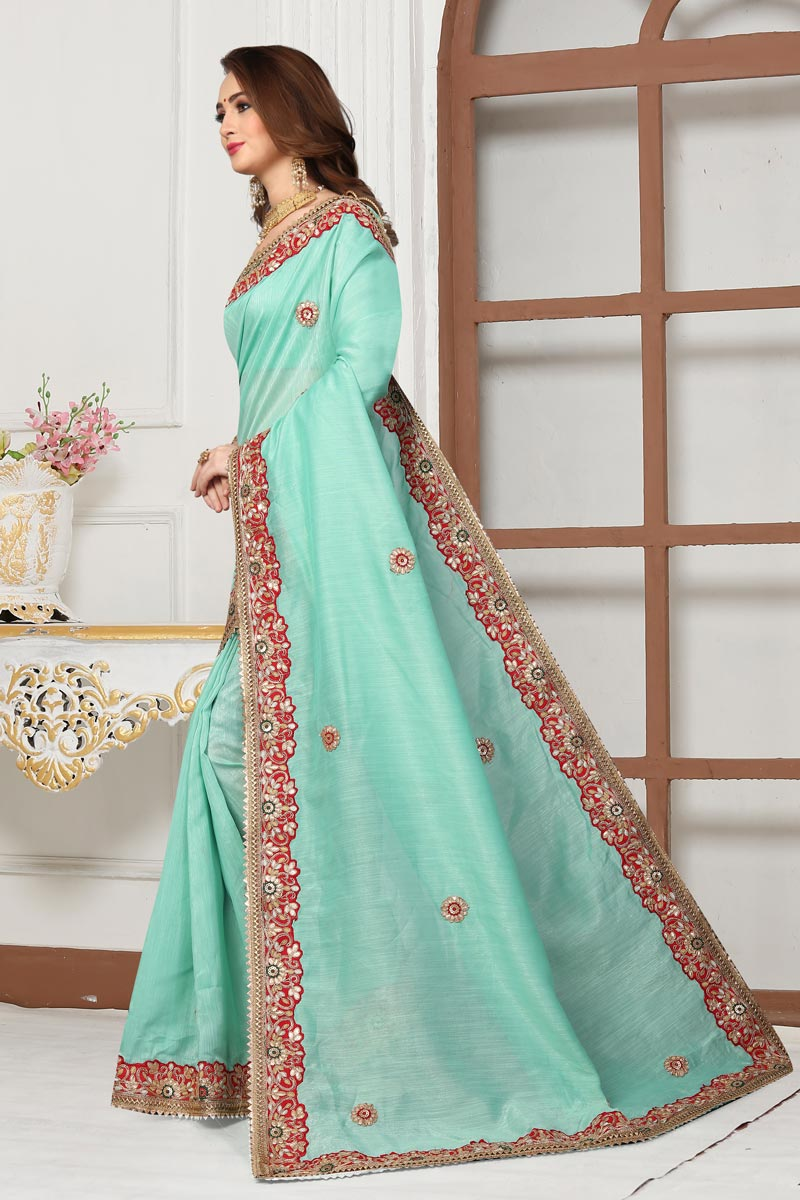Embroidery Work On Cotton Silk Fabric Party Wear Saree In Light Cyan Color With Beautiful Blouse