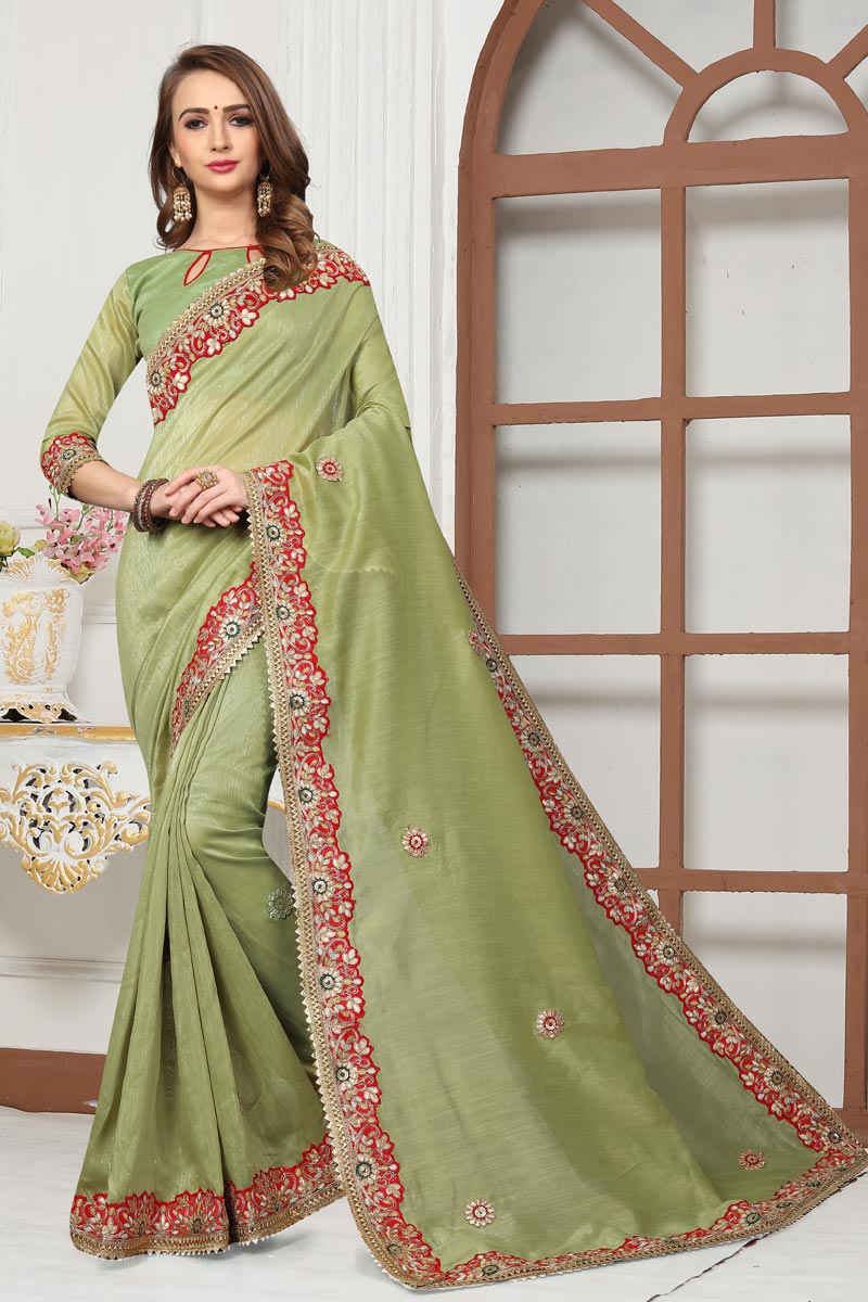 Khaki Color Designer Saree In Cotton Silk Fabric With Embroidery Designs And Attractive Blouse