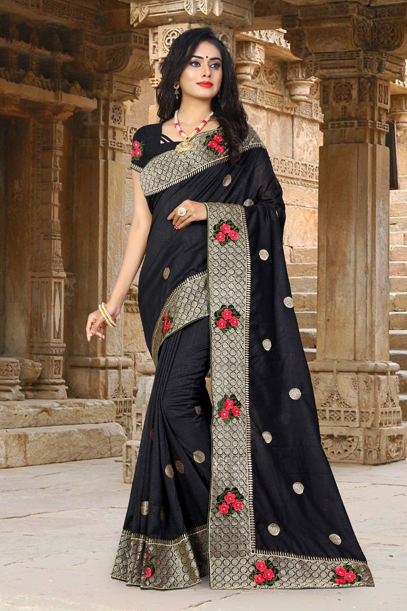 Art Silk Fabric Black Function Wear Saree With Embroidery Designs And Gorgeous Blouse