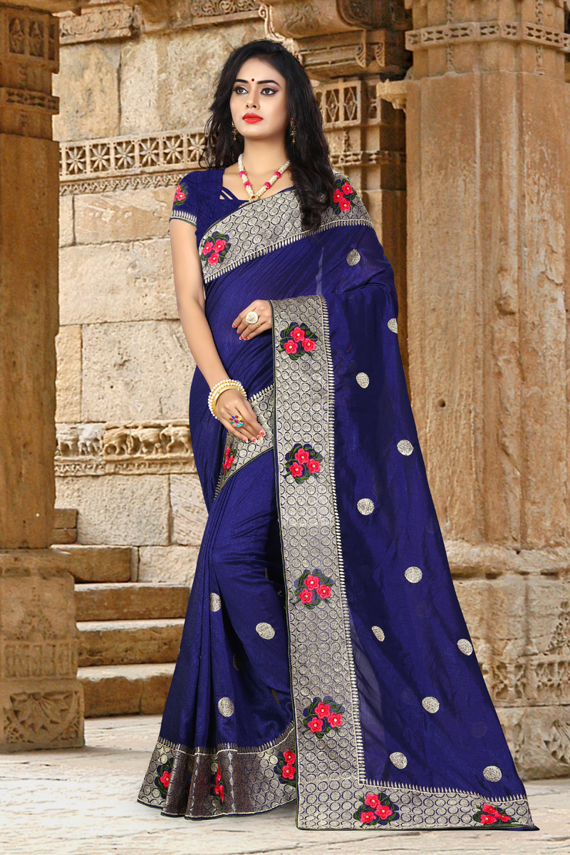 Navy Blue Art Silk Fabric Occasion Wear Saree With Embroidery Work And Attractive Blouse