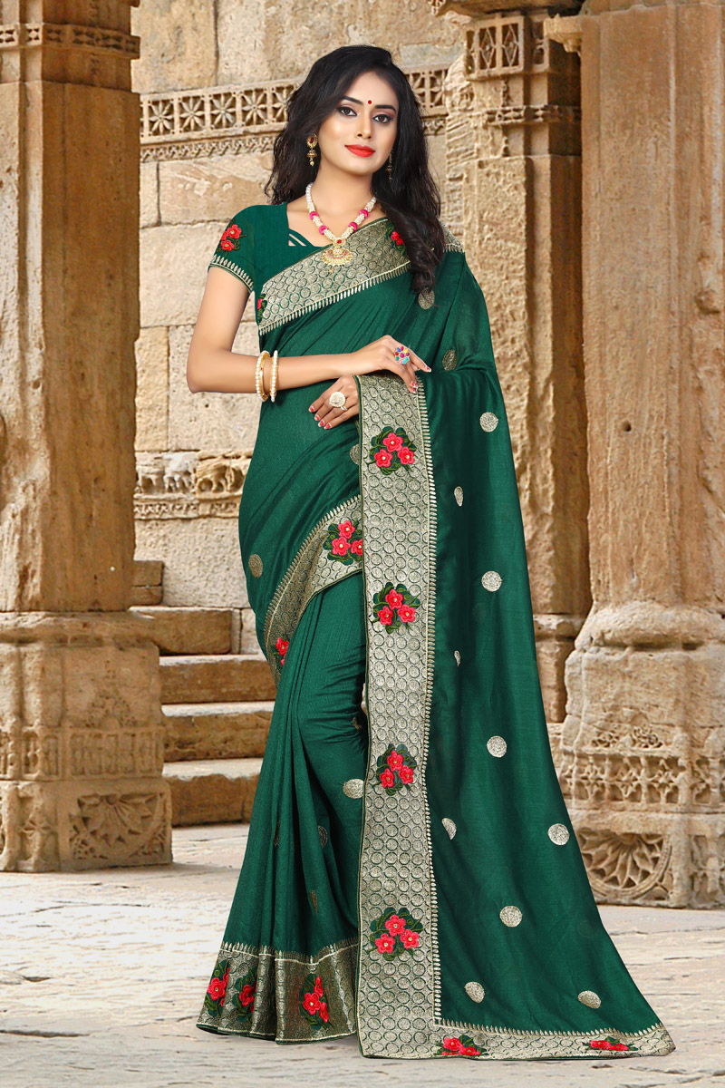 Art Silk Fabric Party Wear Saree In Dark Green With Embroidery Work