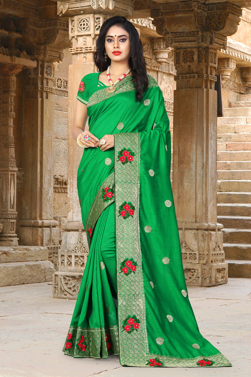Green Traditional Saree In Art Silk Fabric With Embroidery Work