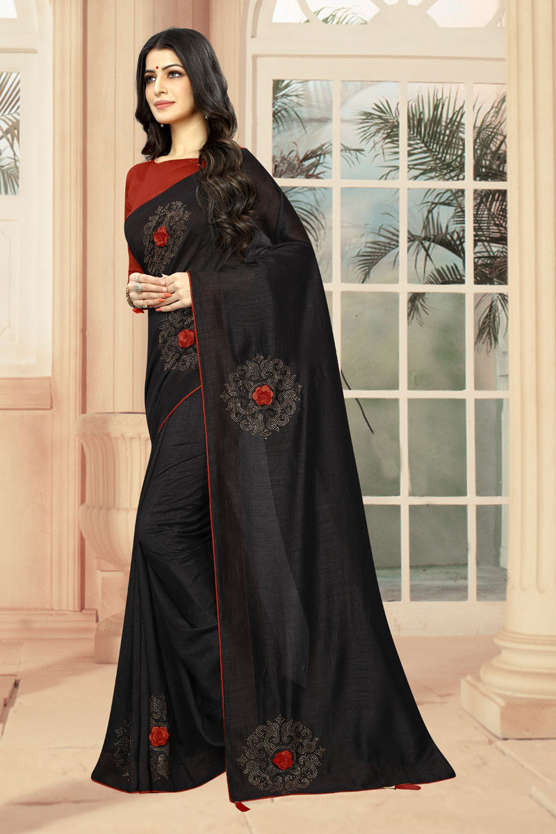 Black Art Silk Fabric Wedding Wear Saree With Stone Work And Gorgeous Blouse