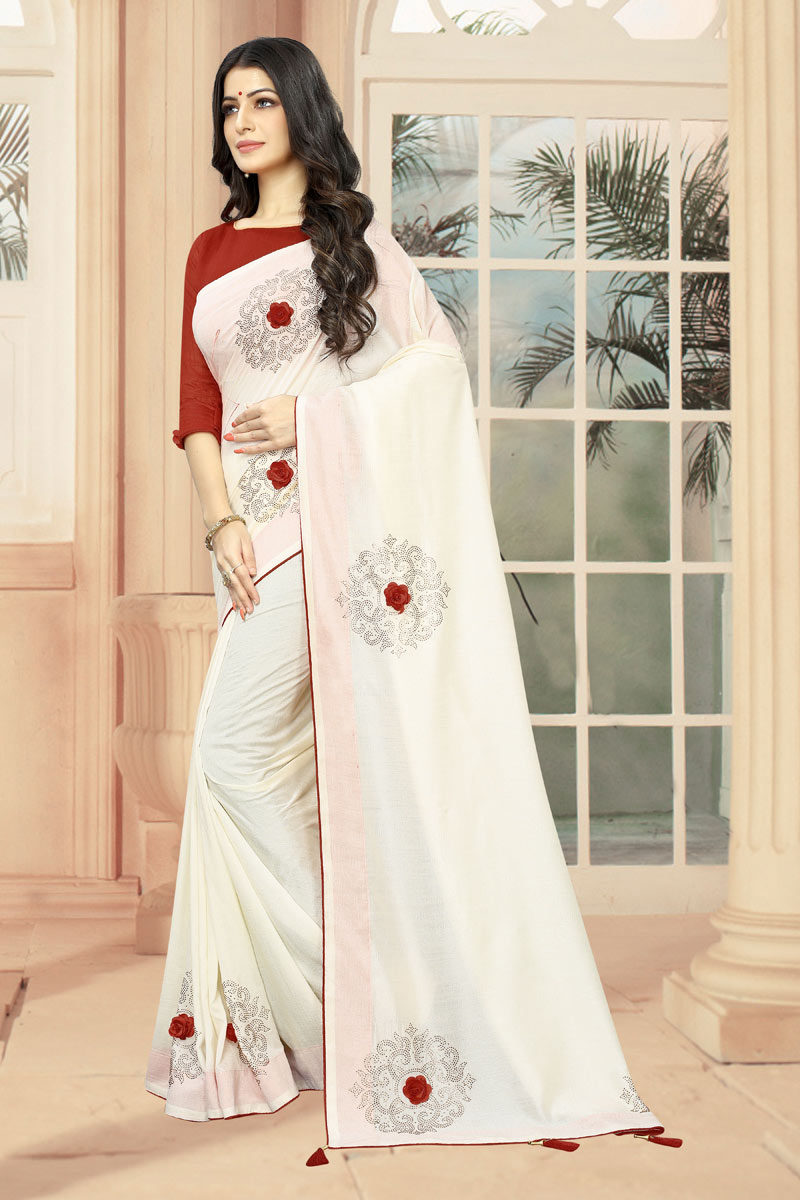 Art Silk Fabric Stone Work Designs On White Reception Wear Saree With Attractive Blouse
