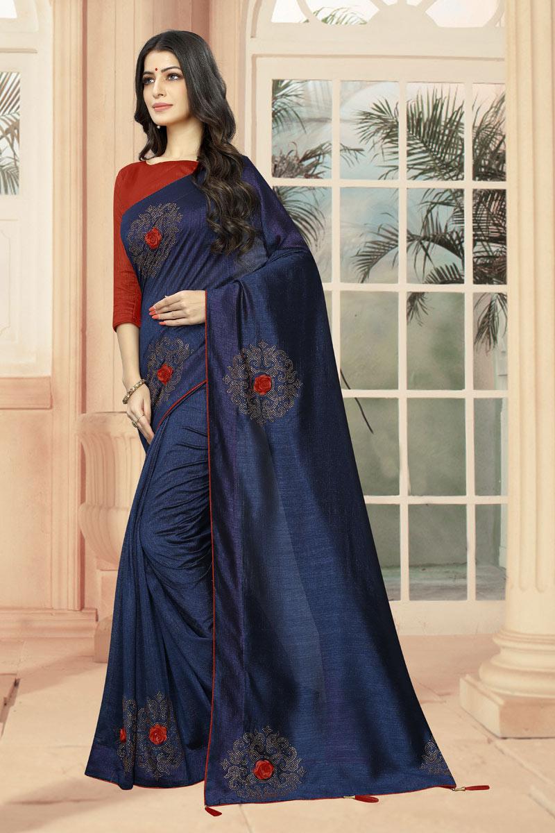 Art Silk Fabric Navy Blue Stone Work Designer Saree With Designer Blouse