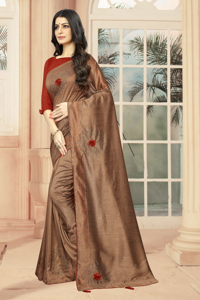 Brown Art Silk Fabric Function Wear Saree With Stone Work And Astounding Blouse