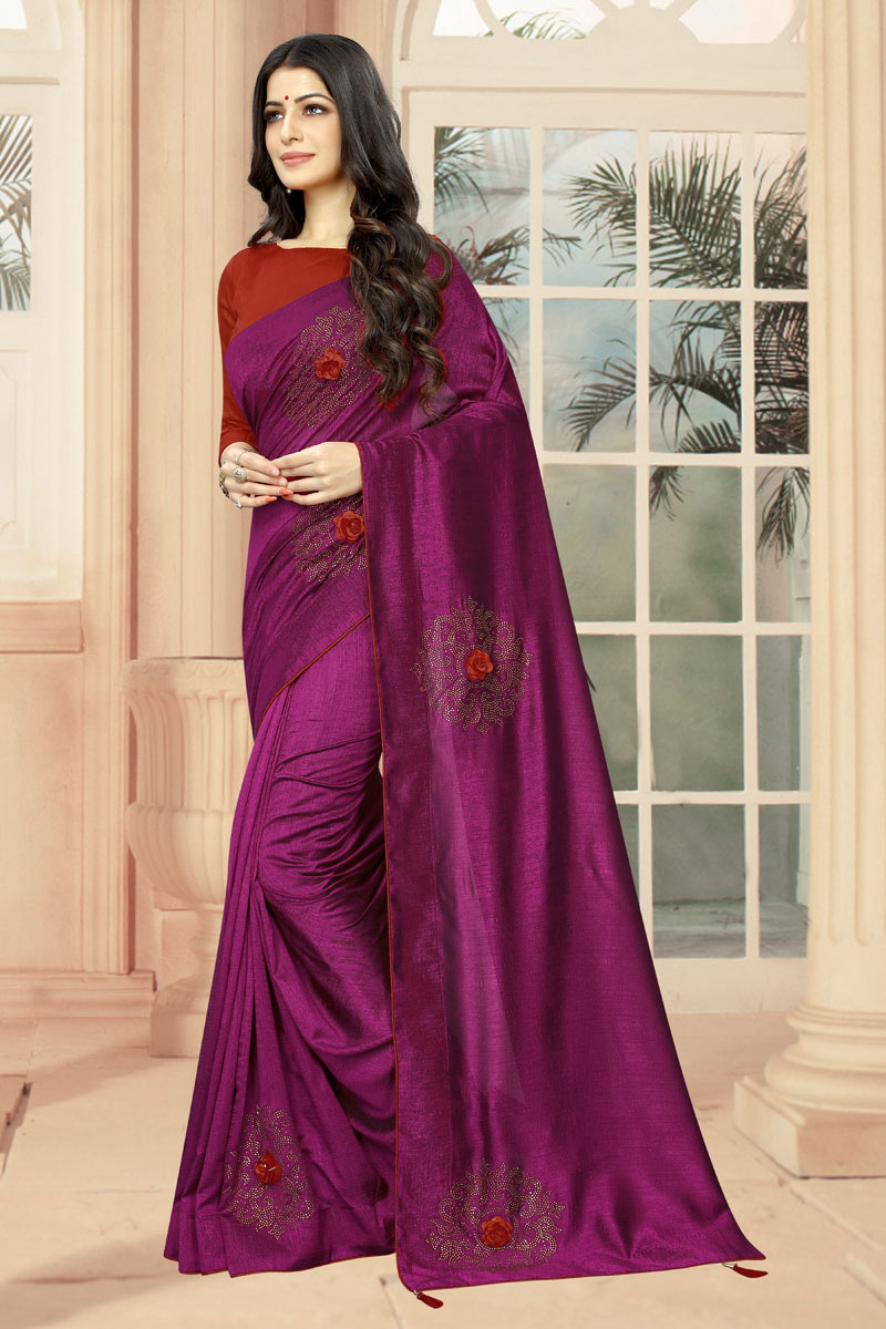 Art Silk Fabric Magenta Festive Saree With Stone Work And Gorgeous Blouse