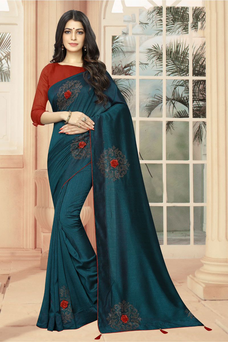 Stone Work On Occasion Wear Saree In Teal With Designer Blouse