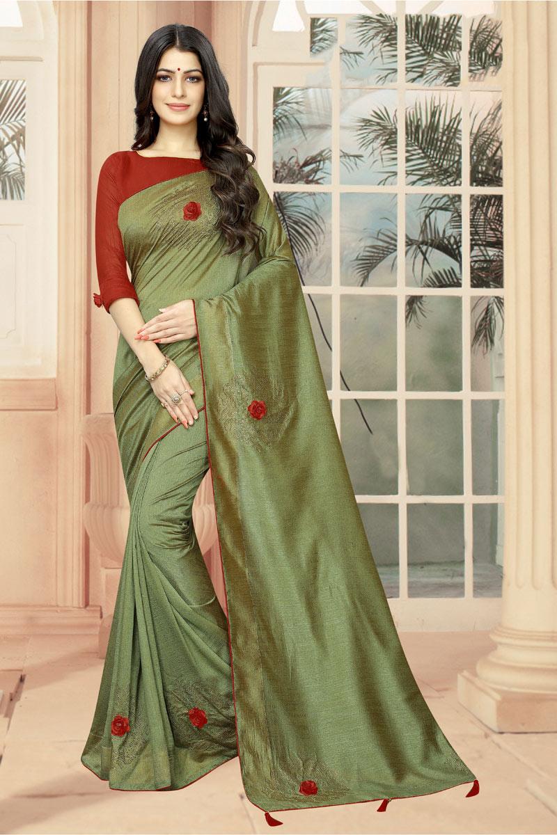 Art Silk Fabric Green Stone Work Designer Saree With Designer Blouse