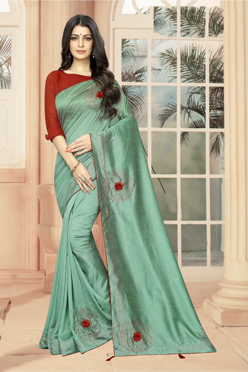 Stone Work On Reception Wear Saree In Art Silk Fabric Sea Green With Charming Blouse