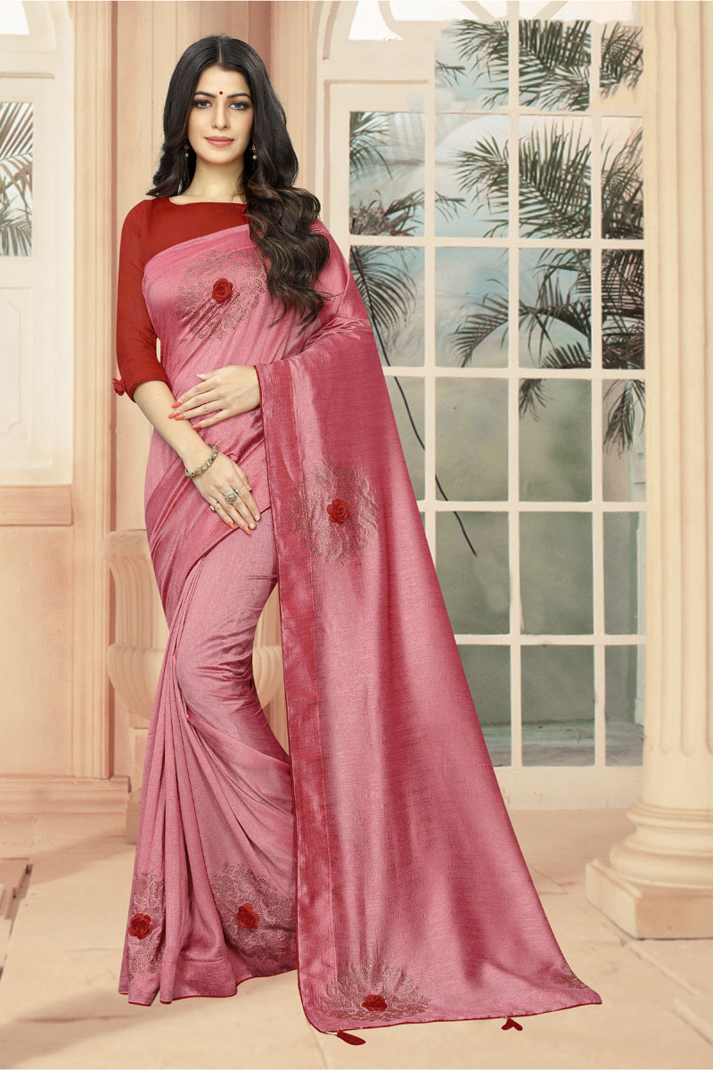 Stone Work On Pink Designer Saree In Art Silk Fabric With Admirable Blouse