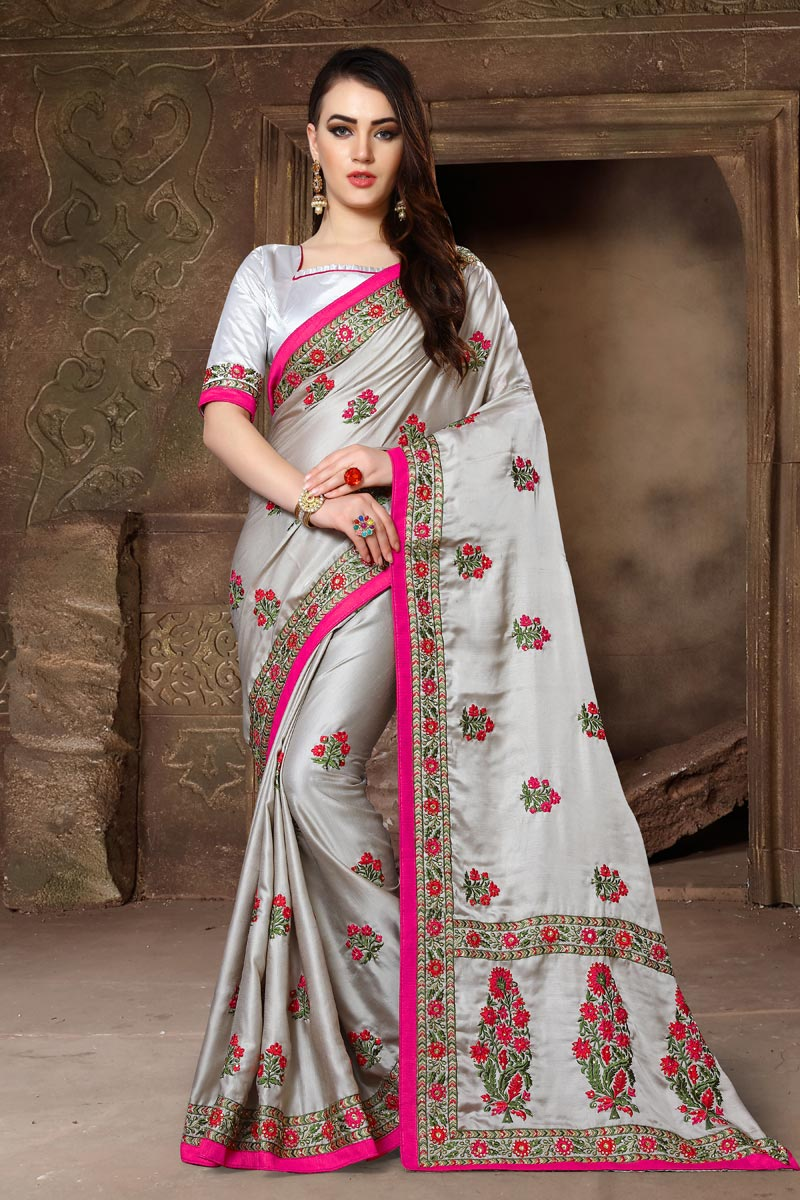 Art Silk Fabric Embroidery Work Embellished Designer Saree In Grey Color