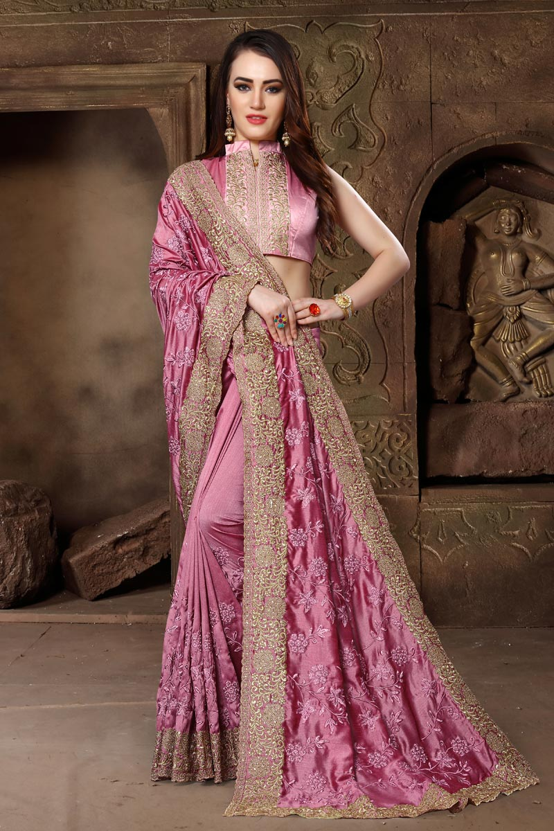 Art Silk Fabric Traditional Embroidery Work Function Wear Saree