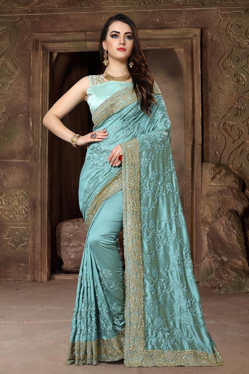 Embroidery Work Designer Function Wear Saree In Art Silk Fabric