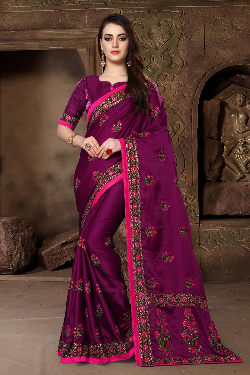 Embroidery Work Art Silk Fabric Fancy Wedding Wear Saree In Purple Color